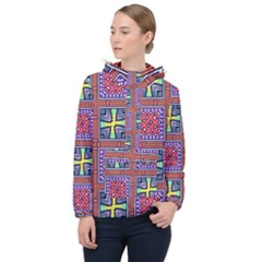 Shapes In Squares Pattern                       Women Hooded Front Pocket Windbreaker by LalyLauraFLM