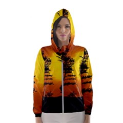 Digital Art Landscape Trees Artwork Women s Hooded Windbreaker