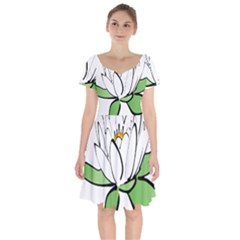 Lotus Flower Water Lily Short Sleeve Bardot Dress by Bejoart