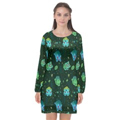Grass Love Long Sleeve Chiffon Shift Dress  by Mezalola