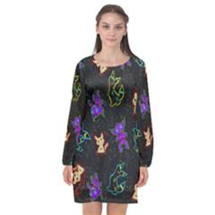 Mimi Long Sleeve Chiffon Shift Dress  by Mezalola