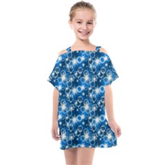 Star Hexagon Deep Blue Light Kids  One Piece Chiffon Dress by Jojostore