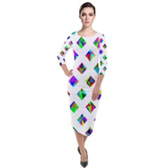 Rainbow Lattice Quarter Sleeve Midi Velour Bodycon Dress by Mariart