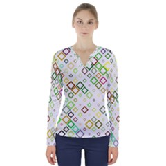 Square Colorful Geometric V Neck Long Sleeve Top