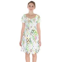 Square Colorful Geometric Short Sleeve Bardot Dress
