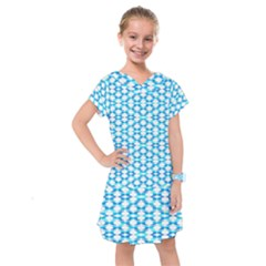 Fabric Geometric Aqua Crescents Kids  Drop Waist Dress by Bajindul