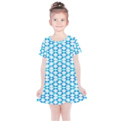 Fabric Geometric Aqua Crescents Kids  Simple Cotton Dress by Bajindul