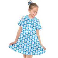Fabric Geometric Aqua Crescents Kids  Short Sleeve Shirt Dress by Bajindul