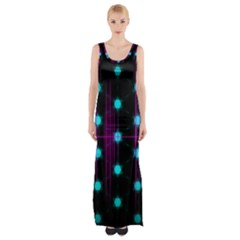 Sound Wave Frequency Thigh Split Maxi Dress