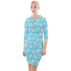 Glitched Candy Skulls Quarter Sleeve Hood Bodycon Dress by VeataAtticus