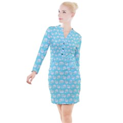 Glitched Candy Skulls Button Long Sleeve Dress by VeataAtticus
