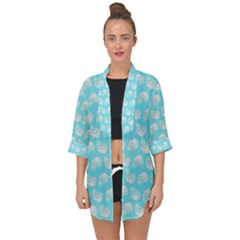 Glitched Candy Skulls Open Front Chiffon Kimono by VeataAtticus