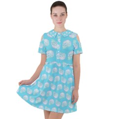 Glitched Candy Skulls Short Sleeve Shoulder Cut Out Dress  by VeataAtticus