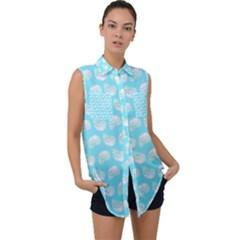 Glitched Candy Skulls Sleeveless Chiffon Button Shirt by VeataAtticus