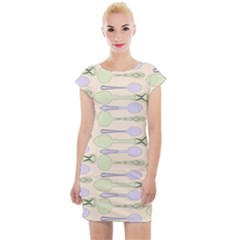 Spoon Pattern Illustrator Green Cap Sleeve Bodycon Dress