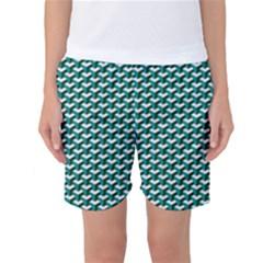 Pattern Green Blue Grey Hues Women s Basketball Shorts by Wegoenart