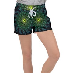 Abstract Ribbon Green Blue Hues Women s Velour Lounge Shorts