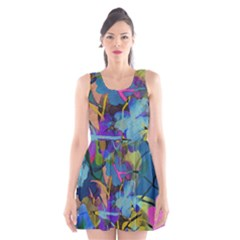Flowers Abstract Branches Scoop Neck Skater Dress by Wegoenart