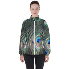 Peacock Feathers Peacock Bird Women s High Neck Windbreaker by Wegoenart
