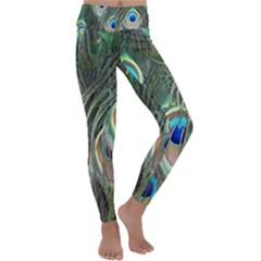 Peacock Feathers Peacock Bird Kids  Lightweight Velour Classic Yoga Leggings by Wegoenart