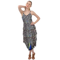 Peacock Bird Feather Plumage Green Layered Bottom Dress by Wegoenart