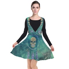 Dreamcatcher With Skull Plunge Pinafore Dress by FantasyWorld7