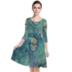 Dreamcatcher With Skull Quarter Sleeve Waist Band Dress by FantasyWorld7