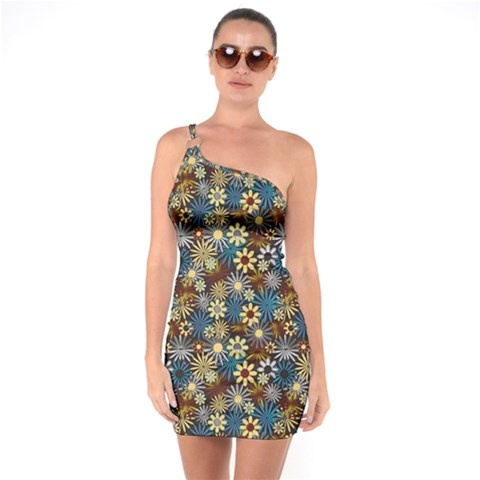 Daisies Variation 1 One Soulder Bodycon Dress