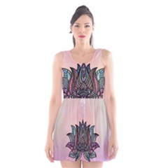 Abstract Decorative Floral Design, Mandala Scoop Neck Skater Dress by FantasyWorld7