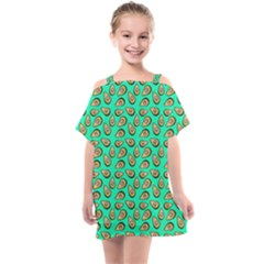 Tropical Aqua Avocadoes Kids  One Piece Chiffon Dress by snowwhitegirl