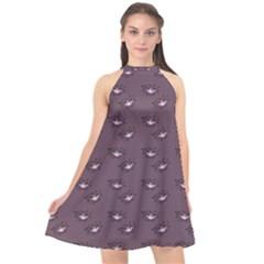 Zodiac Bat Pink Grey Halter Neckline Chiffon Dress  by snowwhitegirl
