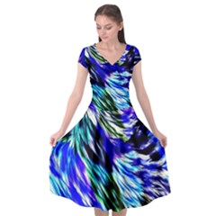 Abstract Background Blue White Cap Sleeve Wrap Front Dress