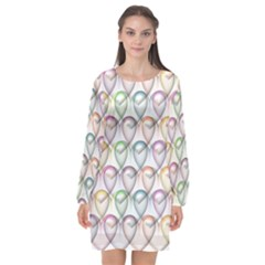 Valentine Hearts Long Sleeve Chiffon Shift Dress