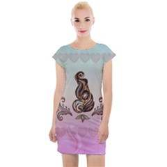 Abstract Decorative Floral Design, Mandala Cap Sleeve Bodycon Dress