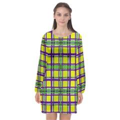 Plaid 3 Long Sleeve Chiffon Shift Dress