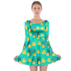 Little Yellow Duckies Long Sleeve Skater Dress by VeataAtticus