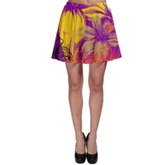 Fancy Tropical Floral Pattern Skater Skirt by tarastyle