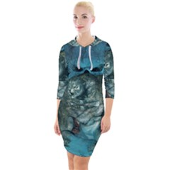 Aweome Troll With Skulls In The Night Quarter Sleeve Hood Bodycon Dress