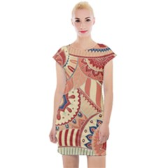 Pop Art Paisley Flowers Ornaments Multicolored 4 Cap Sleeve Bodycon Dress