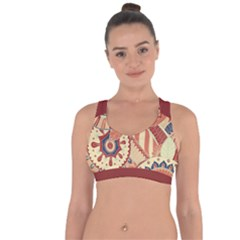 Pop Art Paisley Flowers Ornaments Multicolored 4 Background Solid Dark Red Cross String Back Sports Bra