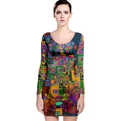 Modern Geometric Art   Dancing In The City Background Solid Dark Blue Long Sleeve Bodycon Dress by EDDArt