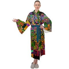 Modern Geometric Art   Dancing In The City Background Solid Dark Blue Maxi Tie Front Velour Kimono by EDDArt