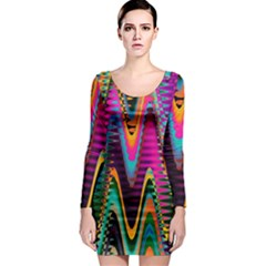 Multicolored Wave Distortion Zigzag Chevrons 2 Background Color Solid Black Long Sleeve Bodycon Dress by EDDArt
