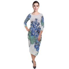 Van Gogh Blue Irises Quarter Sleeve Midi Velour Bodycon Dress by ArtMuseum
