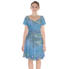 Waterlilies By Claude Monet Short Sleeve Bardot Dress by ArtMuseum