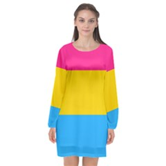 Pansexual Pride Flag Long Sleeve Chiffon Shift Dress  by lgbtnation