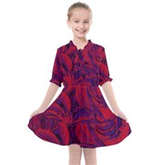Roses Red Purple Flowers Pretty Kids  All Frills Chiffon Dress by Pakrebo
