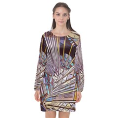 Abstract Drawing Design Modern Long Sleeve Chiffon Shift Dress