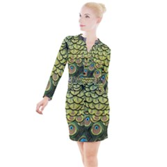Peacock Feathers Peacock Bird Button Long Sleeve Dress by Pakrebo