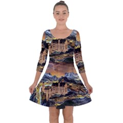 Castle Fantasy Landscape Stormy Quarter Sleeve Skater Dress by Pakrebo